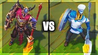 Dragonslayer Pantheon vs Baker Pantheon Skins Comparison Rework 2019 (League of Legends)