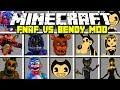 Minecraft NEW FIVE NIGHTS AT FREDDY'S VS BENDY AND THE INK MACHINE MOD! | Modded Mini-Game