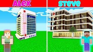 Minecraft Battle: HOSPITAL BUILD CHALLENGE - ALEX vs STEVE in Minecraft