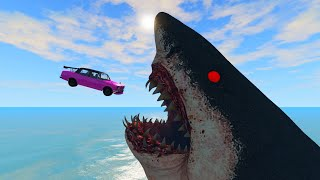 Beamng Drive - Cars Jump into Scary Sharks - Fun Stunts Jumps Crash Compilation