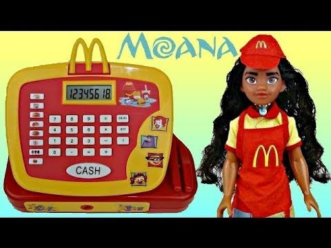Disney MOANA Mcdonald's Cash Register, Maui, Pua, Hei Hei, Happy Meal Toy Surprises / TUYC