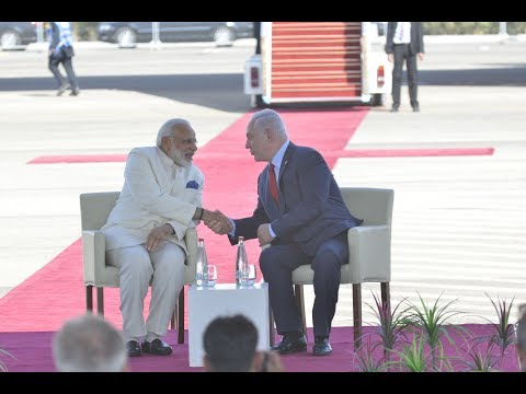 PM Narendra Modi arrives to a warm welcome in in Jerusalem, Israel