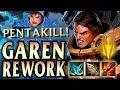 GAREN REWORK FULL CRIT 1v9 CARRY FUNNEL COMP PENTA! - League of Legends S9