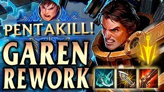 GAREN REWORK FULL CRIT 1v9 CARRY FUNNEL COMP PENTA! - League of Legends S9