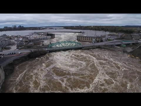 Drone footage shows raging Ottawa River post flooding