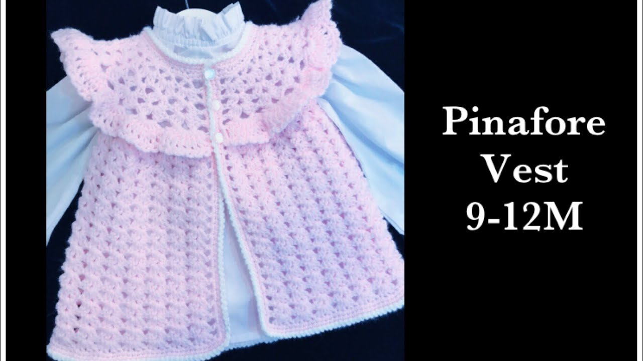 201e17e7d4e4 How to crochet easy pinafore style sweater vest for baby girls 6-18M ...