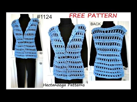 b74332b74c6db WOMENS CROCHET VEST, free Pattern #1124, QUICK EASY summer vest, sweaters &  tops - YouTube