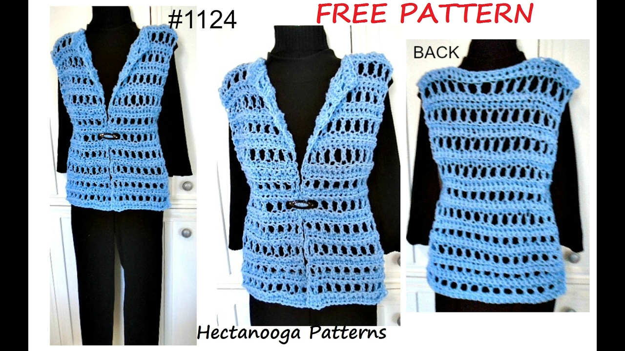 Womens Crochet Vest Free Pattern 1124 Quick Easy Summer Vest