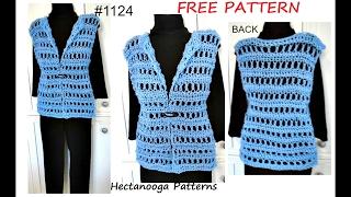 WOMENS CROCHET VEST, free Pattern #1124, QUICK EASY summer vest, sweaters & tops