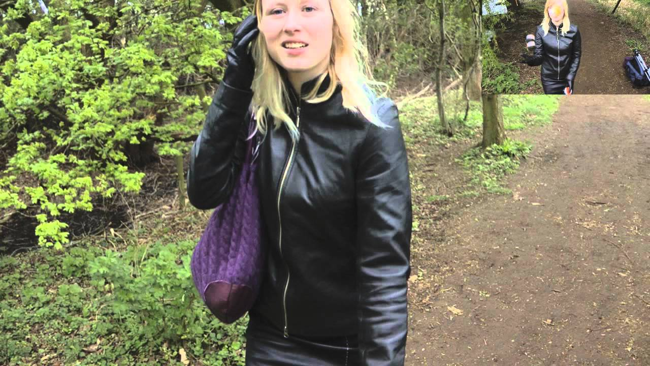 Ladies in leather gloves and boots - Girl In Leather Boots Pants Gloves Jacket Walking
