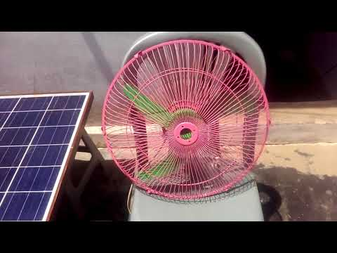 100 watts Poly Solar Panel with 12 volt 10 amp DC fan (experiment) Silent video