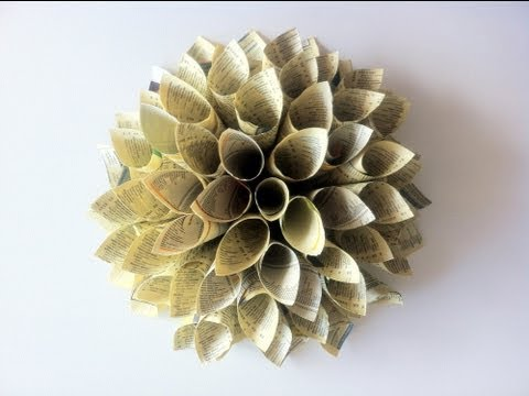 How to make paper flowers from old books