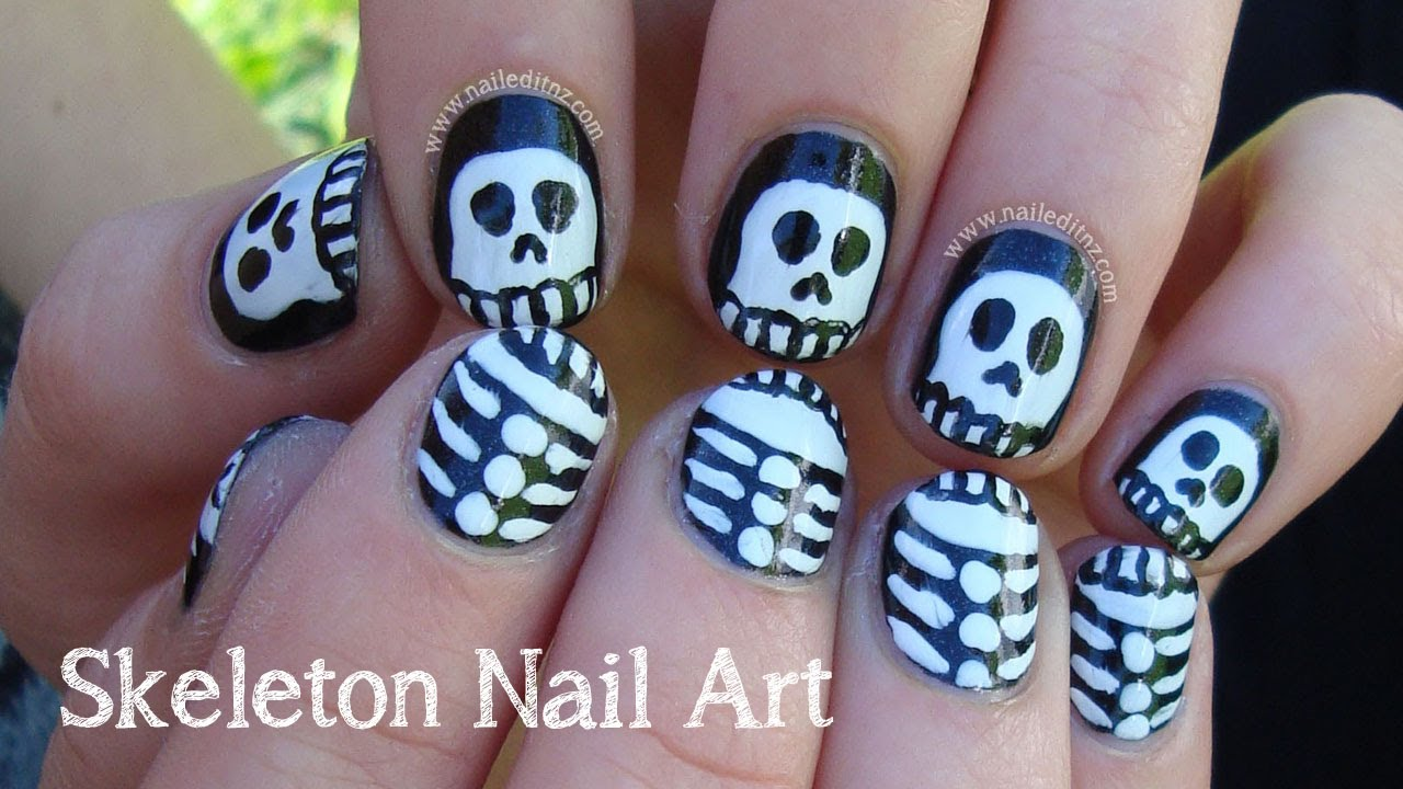 Skeleton Nail Art For Halloween Youtube