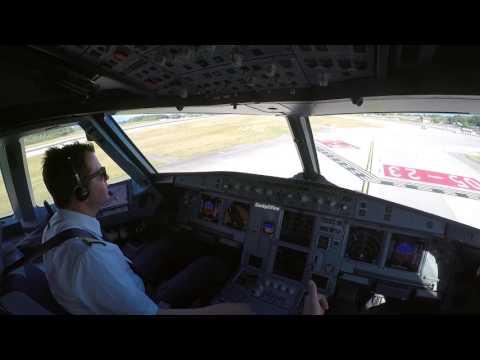 Geneva, LSGG Cockpit view landing runway 05