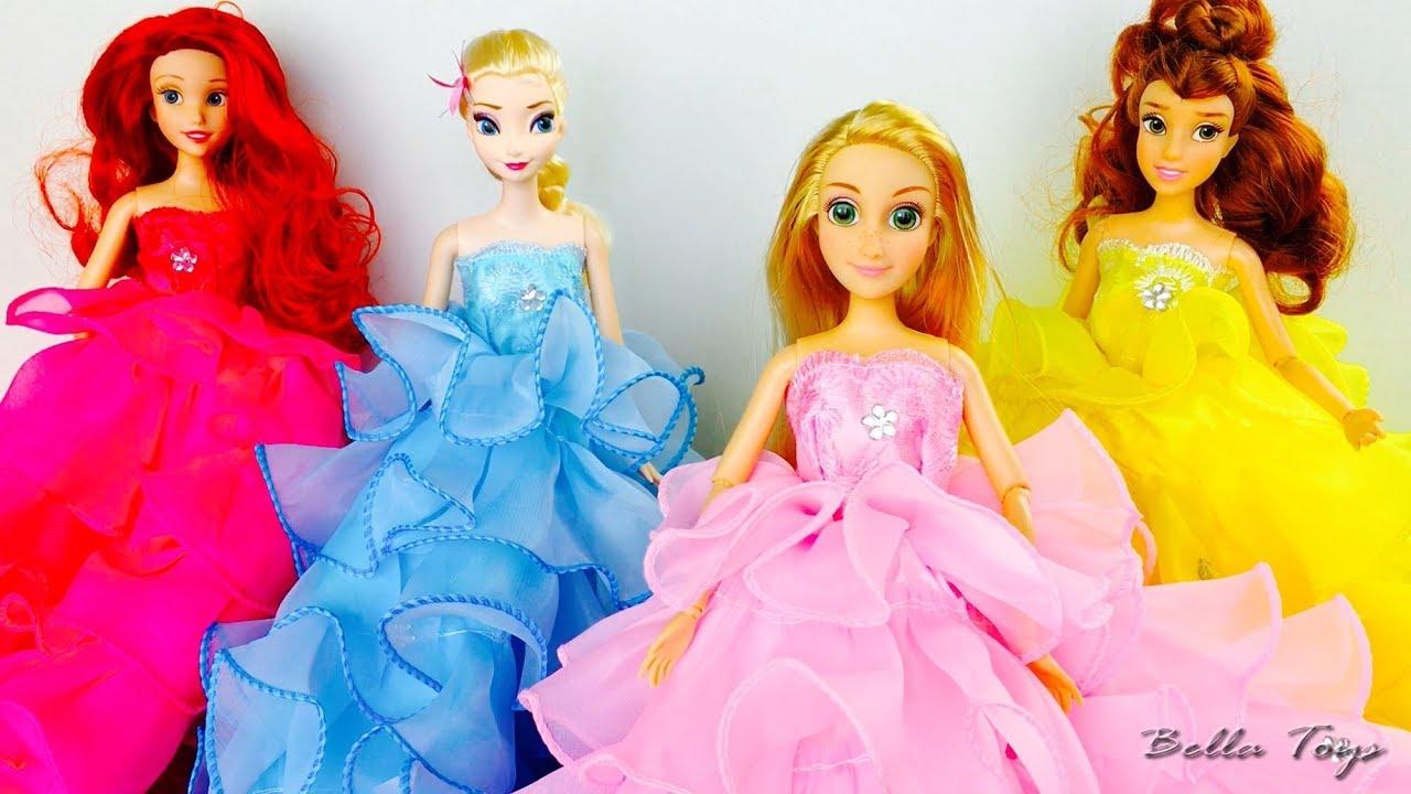 Vestidos Princesas Disneydesfile De Moda Muñecas Elsa Frozen Rapunzel Ariel Bella