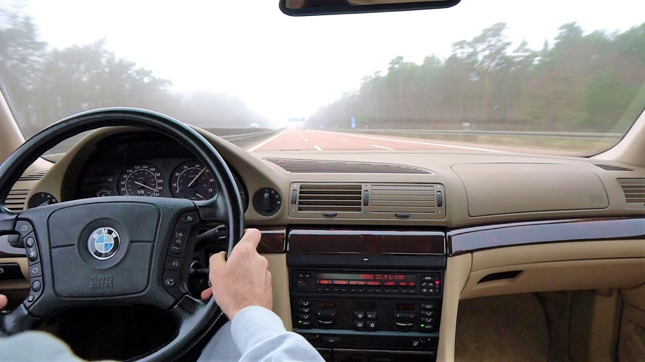 BMW 740i E38 M60 Manual V8 Top Speed on German Autobahn Driving Sound *For Sale*
