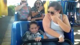 Baby Alberts first roller coaster ride at Castle Park