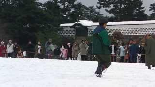 金沢城 放鷹術 20140209 ①ウオーミングアップ(輪回り)