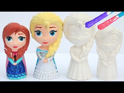 DIY Frozen Elsa VS Frozen Anna Super Glitter Painting Figures By Glitter Rainbow Toys