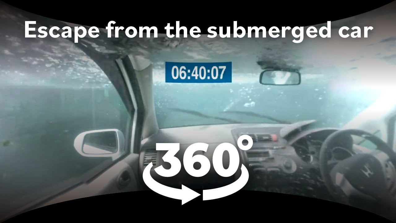 360-degree video! Escaping the submerged car [Virtual trial]