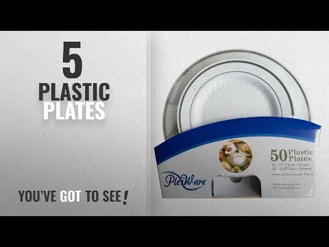 Best Plastic Plates [2018]: Plexware Plastic Plates, Silver Rim With Ridges, 25-7.5