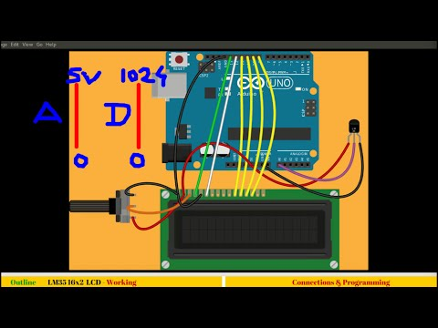 18. Interfacing temperature sensor and displaying output on 16x2 LCD with Arduino(ADC)