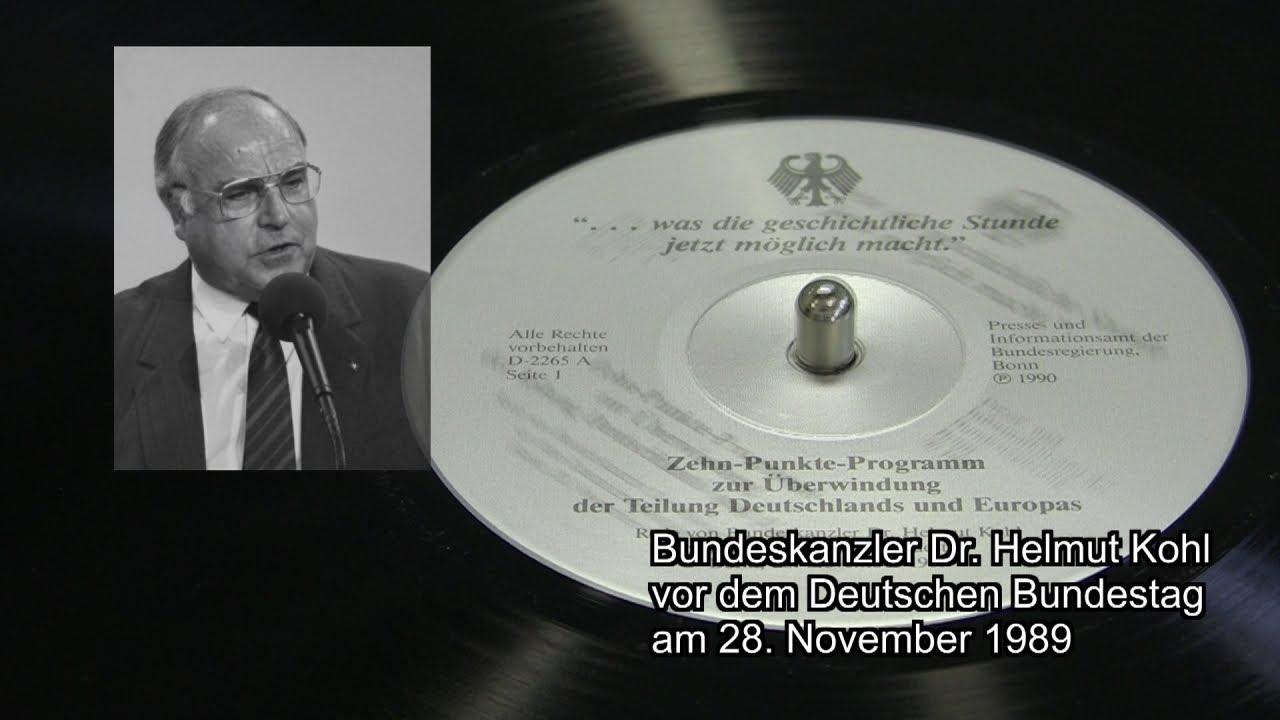 Bundeskanzler Helmut Kohl 1989 10 Punkte Programm Zur
