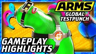 ARMS Global Testpunch Online Gameplay Highlights - Helix, Mechanica, Ninjara, Master Mummy Gameplay