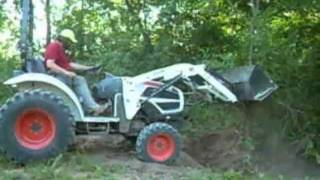 Digging up buckthorn with a Bobcat tractor and how to identify buckthorn