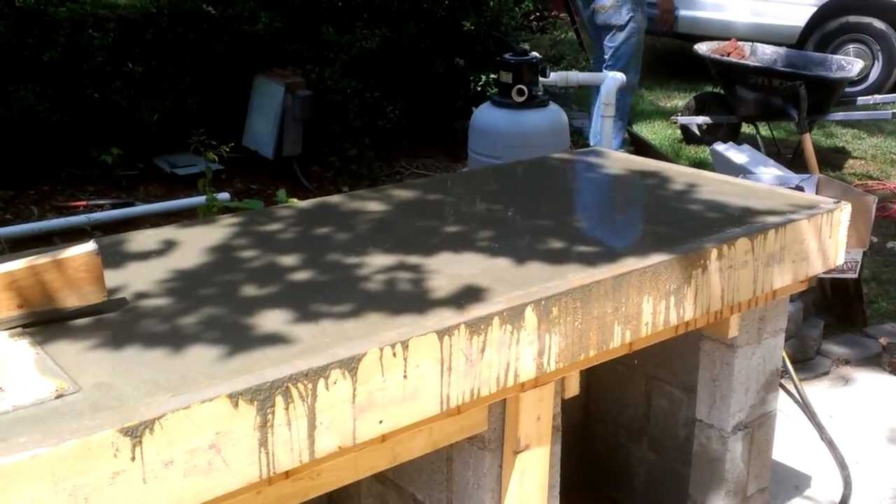 outdoor kitchen construction, concrete counter form - youtube