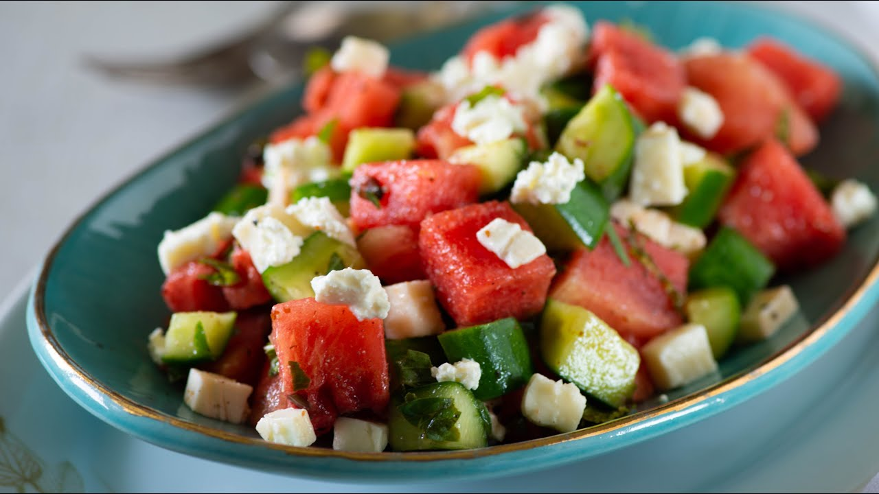 Greek Style Watermelon Feta cucumber salad with Mint and Basil | Watermelon Salad