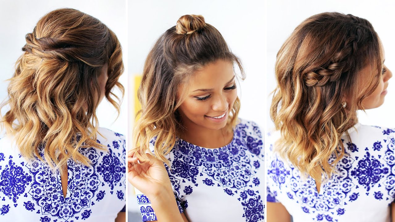 3 easy hairstyles for short hair - youtube