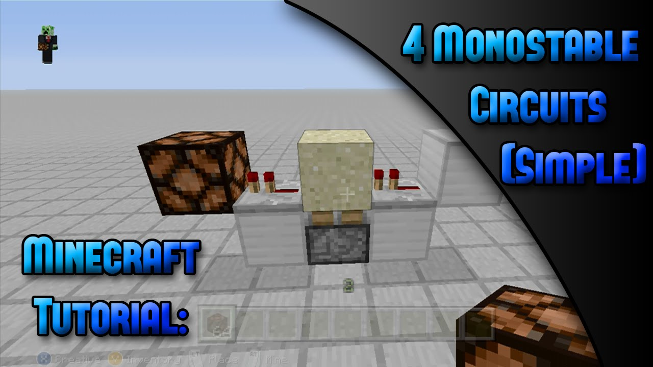 Minecraft Xbox Ps Tutorial4 Monostable Circuitssimple Youtube Circuit