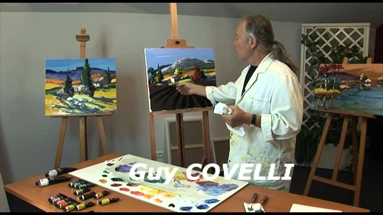 L 39 cran cr atif peindre au couteau 03 lavande guy covelli youtube - Toile a peindre au metre ...