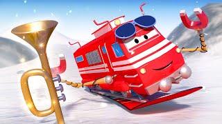 Troy der Zug -  Der Snowboard fahrende Zug  - Autopolis 🚄 Lastwagen Zeichentrickfilme für Kinder