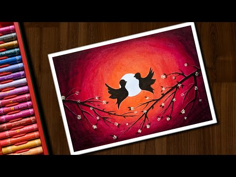 Love Birds Drawing for Beginners with Oil Pastels step by step