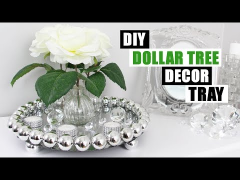 EASY DOLLAR TREE DIY GLAM DECOR TRAY MADE FROM CHRISTMAS ORNAMENTS