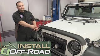 Jeep Wrangler Rugged Ridge Hood Deflector Matte Black Look 2007-2018 Installation
