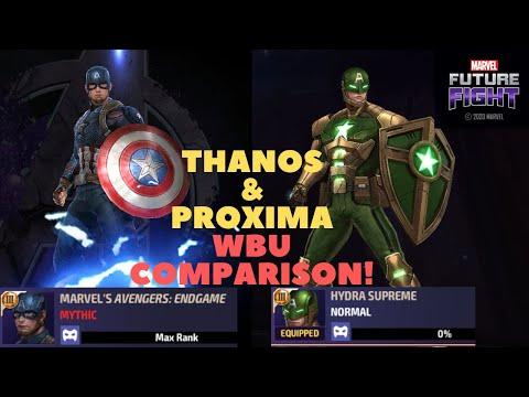 T3 Captain America (Endgame) VS (Hydra Supreme Uni) Thanos 35 & Proxima 70 WBU - Marvel Future Fight