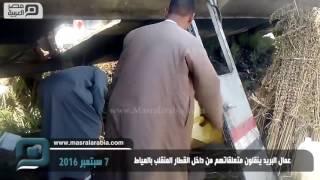 مصر العربية | عمال البريد ينقلون متعلقاتهم من داخل القطار المنقلب بالعياط