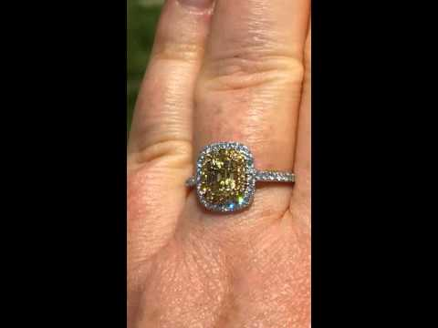 Cushion Canary Yellow Sapphire Engagement Ring in Double Diamond