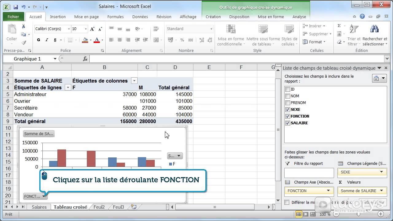 Comment créer un graphique depuis un tableau croisé dynamique avec Excel 2010 ? - YouTube