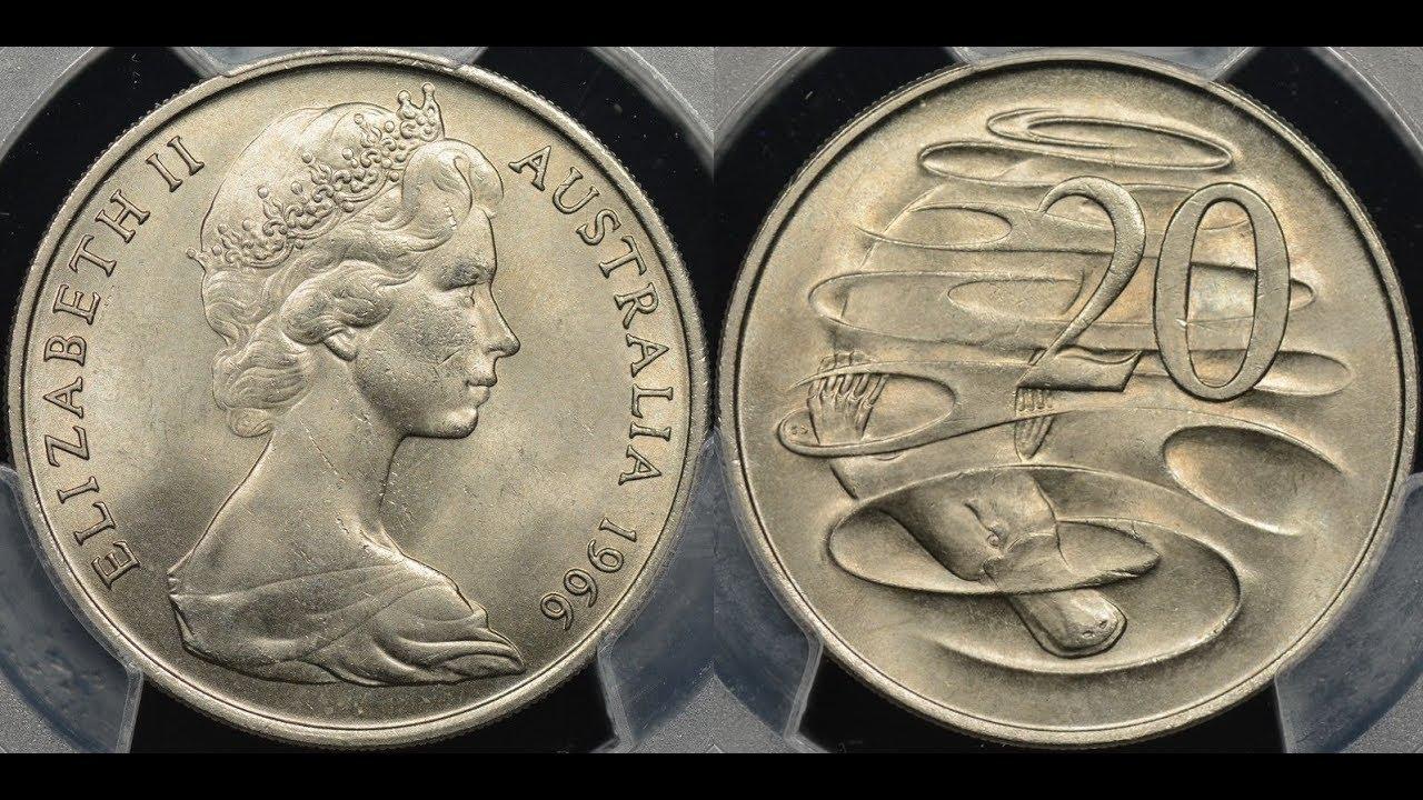 Australian 1966 20 Cent London Wavy Line Very Rare