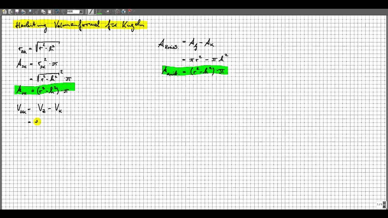 herleitung volumen kugel - prinzip des cavalieri - youtube