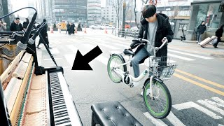 A Bike Boy Finds Street Piano, Suddenly Plays 'Can Can' So Fast