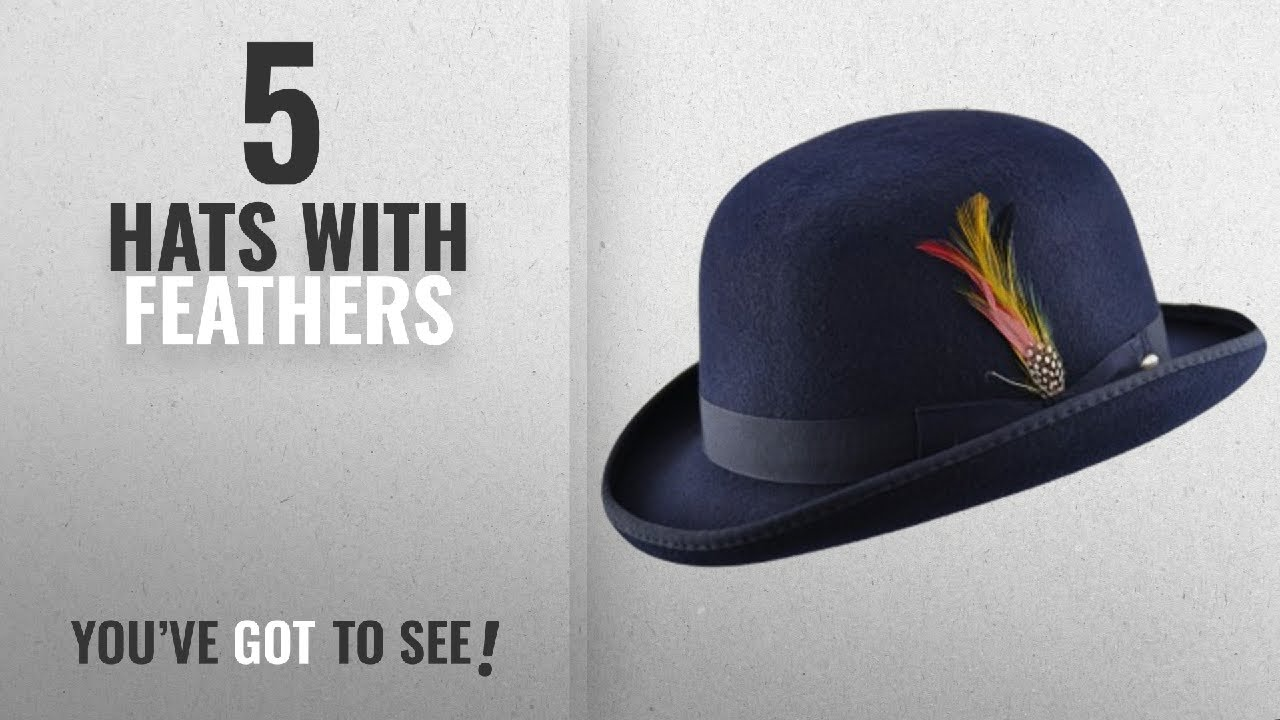 Top 10 Hats With Feathers  2018   High Quality Hard Top 100% Wool ... 95f4e82d235d