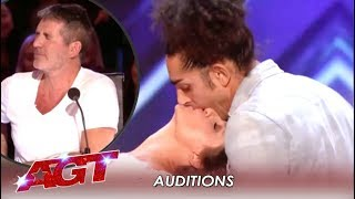 Simon Cowell Can't Watch This EROTIC Kissing Act | America's Got Talent 2019