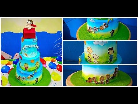 كيكة سنوبي - فيديو التزيين The Peanuts / Snoopy Cake Tutorial