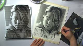 Charcoal Drawing - Seek The Heart That Guides You WIP 3d - SSTP Survive Said the Prophet Yosh