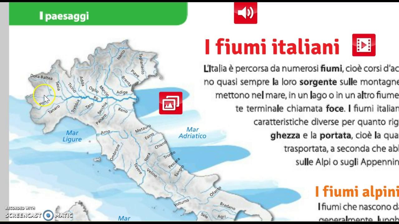 Cartina Dei Fiumi Del Nord Italia.I Fiumi Italiani Youtube